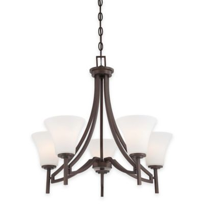 Minka Lavery® Middlebrook 5-Light Chandelier in Vintage Bronze with Etched Glass Shade