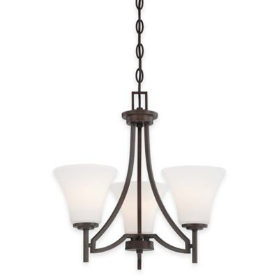 Minka Lavery® Middlebrook 3-Light Mini Chandelier in Vintage Bronze with Etched Glass Shade