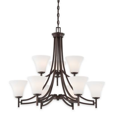 Minka Lavery® Middlebrook 9-Light Chandelier in Vintage Bronze with Etched Glass Shade