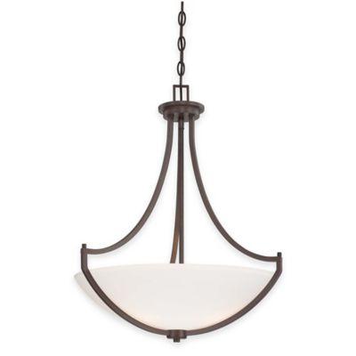 Minka Lavery® Middlebrook 3-Light Pendant in Vintage Bronze with Etched Glass Shade