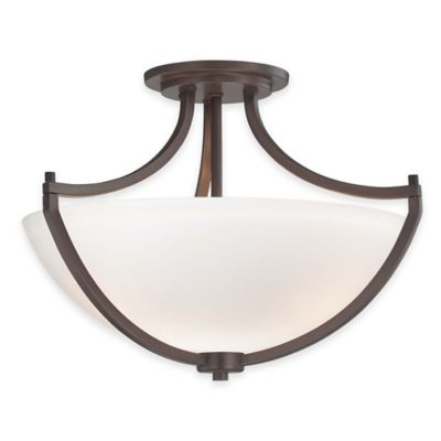 Minka Lavery® Middlebrook 3-Light Semi-Flush Mount Fixture in Vintage Bronze with Glass Shade
