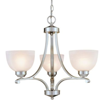 Minka Lavery® Paradox™ 3-Light Mini Chandelier in Brushed Nickel with Etched Glass Shade