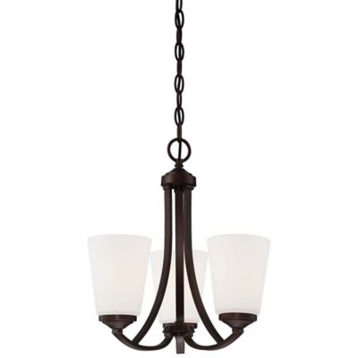 Minka Lavery® 3-Light Mini Chandelier in Vintage Bronze with Etched Glass Shade