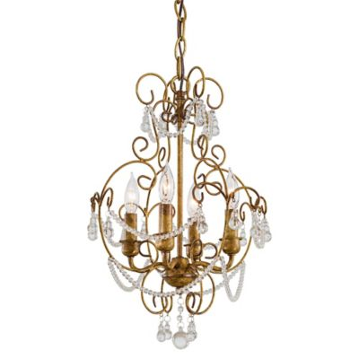 4-Light Mini Chandelier in Gold