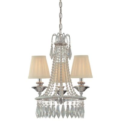 Minka Lavery® 3-Light Mini Chandelier in Chrome with Cloth Shade