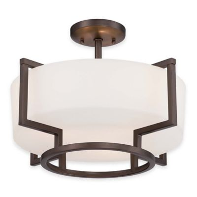 Minka Lavery® Morlaix 3-Light Semi-Flush Mount Ceiling Fixture in Bronze with Glass Shade