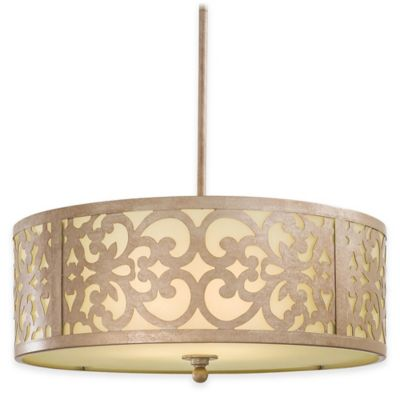 Minka Lavery® Nanti 3-Light Chandelier in Champagne Silver with Etched Vanilla Glass Shade