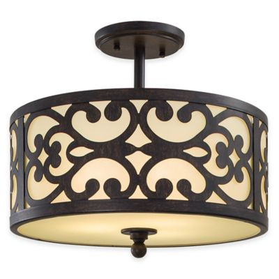 Minka Lavery® Nanti 3-Light Semi-Flush Mount Fixture in Iron Oxide with Etched Glass Shade