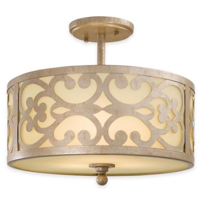 Minka Lavery® Nanti 3-Light Semi-Flush Mount Fixture in Champagne Silver with Glass Shade