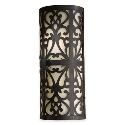 Minka Lavery® Nanti 2-Light Wall Sconce in Iron Oxide with Etched Vanilla Glass Shade