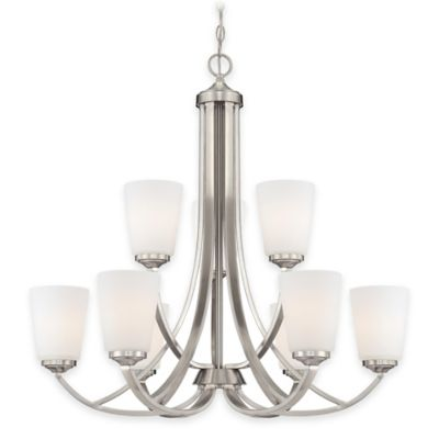 Minka Lavery® Overland Park 9-Light Chandelier in Brushed Nickel with Opal Etched Glass Shade