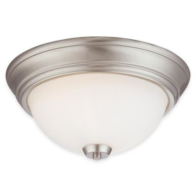 Minka Lavery® Overland Park 2-Light Flush-Mount Ceiling Light in Brushed Nickel with Glass Shade