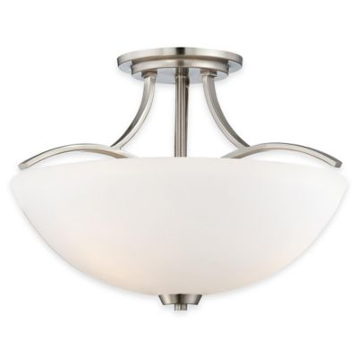 Minka Lavery® Overland Park 3-Light Semi-Flush Mount Fixture in Brushed Nickel with Glass Shade