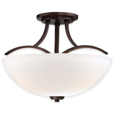 Minka Lavery® Overland Park 3-Light Semi-Flush Mount Fixture in Vintage Bronze with Glass Shade