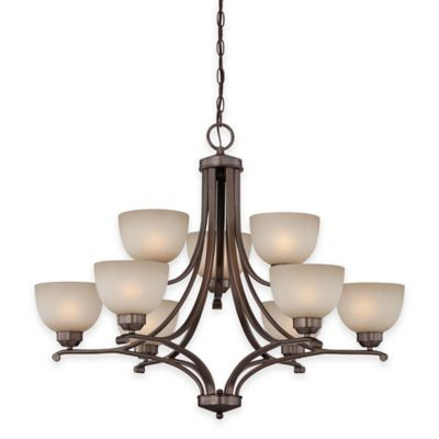 Minka Lavery® Paradox™ 9-Light Chandelier in Bronze with Glass Shade