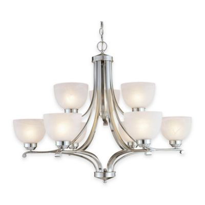 Minka Lavery® Paradox™ 9-Light Chandelier in Brushed Nickel with Etched Glass Shade