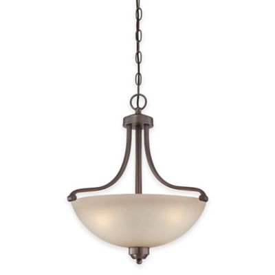 Minka Lavery® Paradox™ 3-Light Pendant in Bronze with Glass Shade