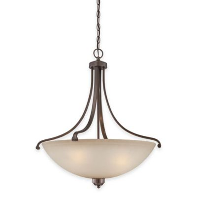 Minka Lavery® Paradox™ 4-Light Pendant in Bronze with Glass Shade