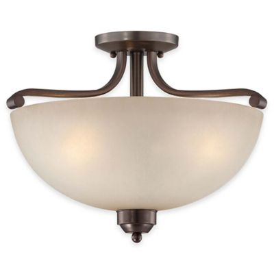 Minka Lavery® Paradox™ 3-Light Semi-Flush Mount Ceiling Light in Bronze with Glass Shade