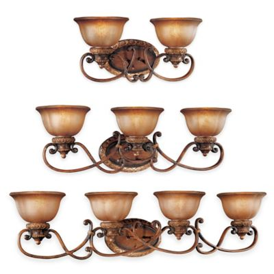 Minka Lavery® Illuminati™ 4-Light Wall-Mount Bath Fixture in Bronze with Glass Shade