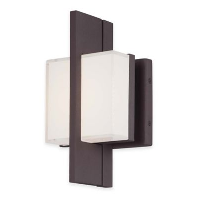 Minka Lavery® Lynhaven 10-Inch LED Wall Sconce in Bronze with Mitered Glass Shade