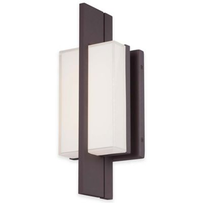 Minka Lavery® Lynhaven 14-Inch LED Wall Sconce in Bronze with Mitered Glass Shade