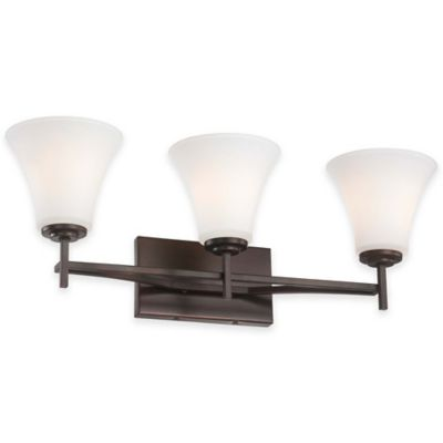 Minka Lavery® Middlebrook 3-Light Wall-Mount Bath Fixture in Vintage Bronze with Glass Shade