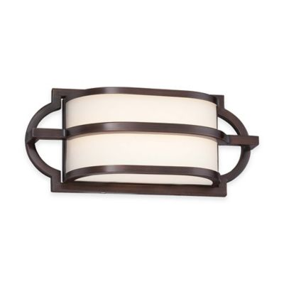 Minka Lavery® Mission Grove Wall-Mount LED Bath Fixture in Bronze with Glass Shade