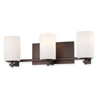 Minka Lavery® Morlaix 3-Light Wall-Mount Bath Lighting Fixture in Bronze with Glass Shade