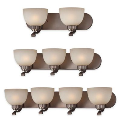 Minka Lavery® Paradox™ 3-Light Wall-Mount Bath Fixture in Bronze with Glass Shade