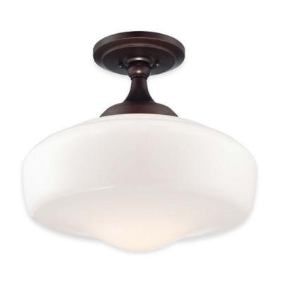 Minka Lavery® 1-Light Semi-Flush Mount 17.25-Inch Ceiling Light in Bronze with Glass Shade