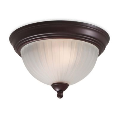 Minka Lavery® 1730 Series 2-Light Flush-Mount Fixture in Bronze with Glass Shade