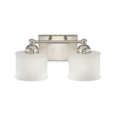 Minka Lavery® 1730 Series 2-Light Wall-Mount Bath Fixture in Polished Nickel with Glass Shade
