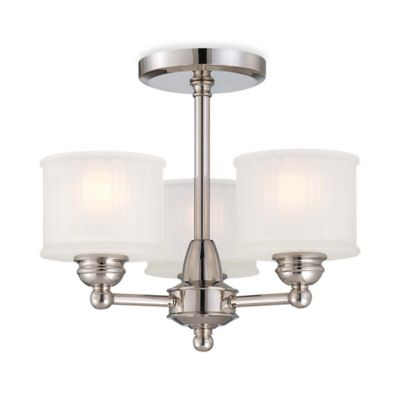 Minka Lavery® 1730 Series 3-Light Semi-Flush Mount Fixture in Polished Nickel with Glass Shade