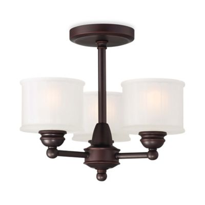 Minka Lavery® 1730 Series 3-Light Semi-Flush Mount Fixture in Bronze with Glass Shade