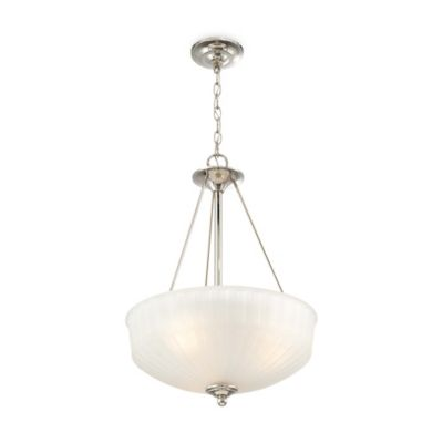 Minka Lavery® 1730 Series 3-Light Pendant in Polished Nickel with Glass Shade