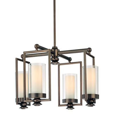 Minka Lavery® Harvard Court 4-Light Mini Chandelier in Bronze with Etched Opal Glass Shade