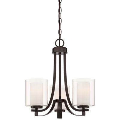 Minka Lavery® Parsons Studio 3-Light Mini Chandelier in Smoked Iron with Glass Shade