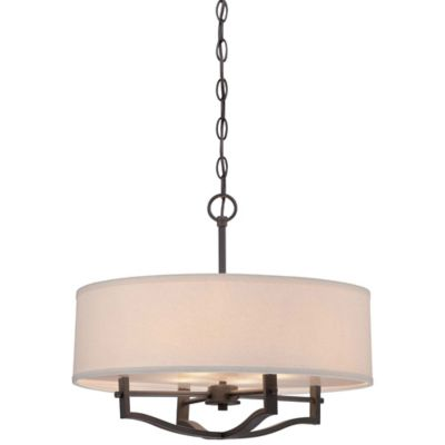 Minka Lavery® 3-Light Pendant in Vintage Bronze with Linen Shade