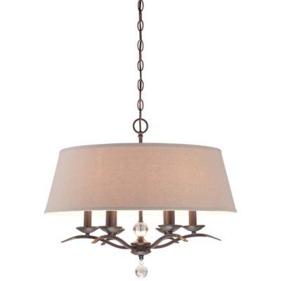 Minka Lavery® 6-Light Pendant Light in Kinston Bronze with Oatmeal Linen Shade