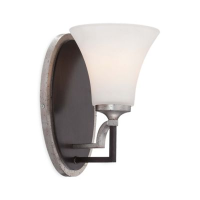 Minka Lavery® Astrapia 1-Light Wall Sconce Bath Fixture in Dark Rubbed Sienna with Aged Silver