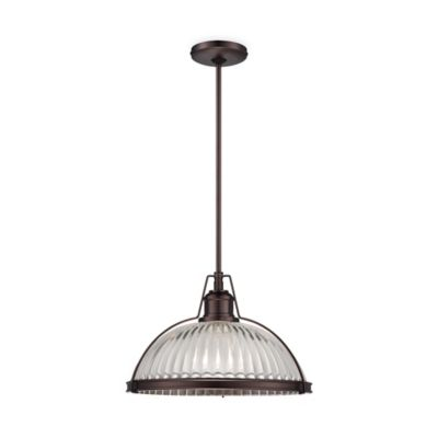 Minka Lavery® 10-Inch 1-Light Pendant in Dark Brushed Bronze with Ribbed Clear Glass Shade
