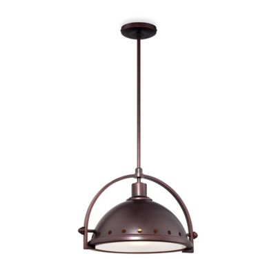 Minka Lavery® 1-Light Pendant in Brushed Bronze with Metal Shade