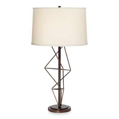 Pacific Coast® Lighting Geometric Table Lamp in Bronze with Tapered Drum Shade