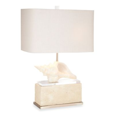 Pacific Coast® Lighting Kathy Ireland Winward Shore Table Lamp in Beige with Rectangular Shade