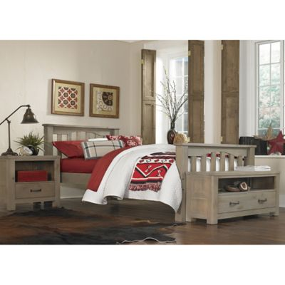 NE Kids Highlands Harper Twin Bed with Trundle in Driftwood