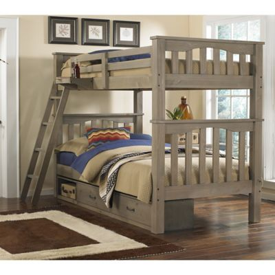 NE Kids Highlands Harper Bunk Twin/Twin Bed with Trundle in Driftwood