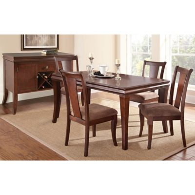 Aubrey 5-Piece Dining Set in Cherry Brown