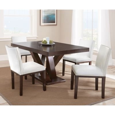Steve Silver Co. Tiffany 5-Piece Dining Set with White Chairs