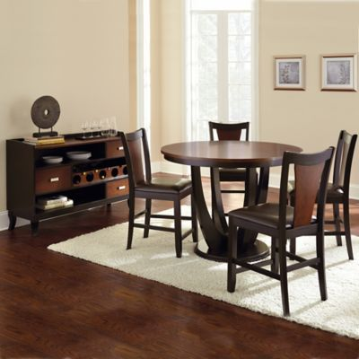 Steve Silver Co. Oakton 6-Piece Counter Height Dining Set in Cherry/Black